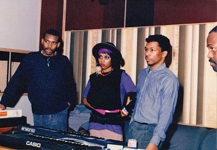 Joe Smooth, Lady Maia, Chip E., and Frankie Knuckles at Chicago Trax studio