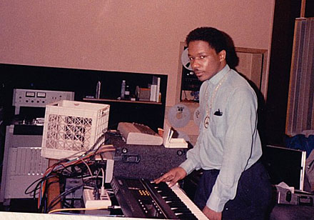 Chip E. with his Commodore 64 at Chicago Trax studio