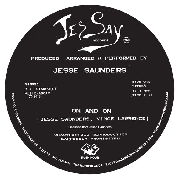 Jesse Saunders On and On repress label